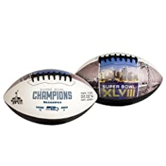 Buy Official NFL Super Bowl XLVIII 48 Seattle Seahawks Champions Embossed Logo Autograph Full Size Football by Jarden