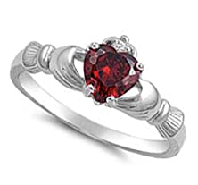 buy Natural Genuine - 9Mm 2Ctw Sterling Silver January Red Garnet Heart Birthstone Claddagh Irish Ring 2-13 (.925 Italian Sterling Silver, 6.5)