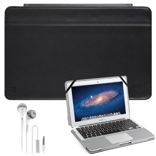 Vangoddy Laptop Mary - Pro City Book Portfolio Cover Case Jet Matte Black Fits Apple Macbook Air 11 Inch + White Hands-Free Earphones Headphones W/ Microphone