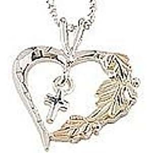 Black Hills Gold Silver Heart Cross Necklace