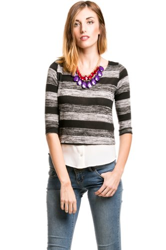 Striped Sweater Blouse Combo in Charcoal