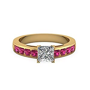 GIA Pink Sapphire & Princess Cut Diamond Channel Gemstone Engagement Ring 1 Carat (F Color, SI1 Clarity)