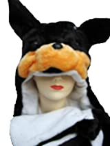 Plush Rotweiler Animal Hat - Dog Hat with Ear Flaps and Hand Pockets