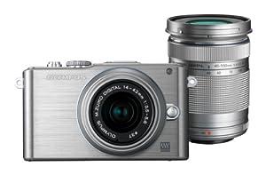 Olympus PEN E-PL3 Systemkamera (12 Megapixel, 7,6 cm (3 Zoll) Display, bildstabilisiert) silber Kit mit 14-42mm und 40-150mm Objektiven silber