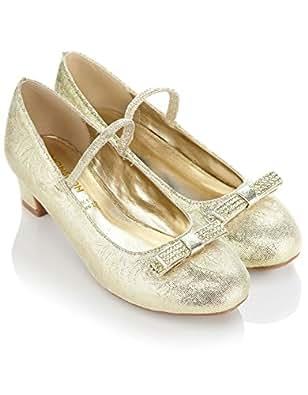 Monsoon Filles Chaussures de danse embossées ornées d'un nœud en strass Taille Chaussures 29 Or