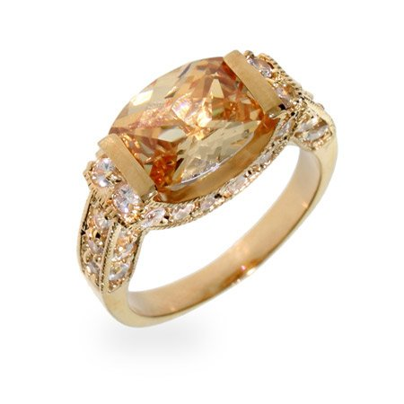 Brianna's Champagne and Diamond CZ Gold Ring Size 7 (Sizes 5 6 7 8 9 10 Available)