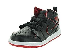 Nike Jordan Toddlers Jordan 1 Mid Bt Black/Black/White/Gym Red Basketball Shoe 7 Infants US