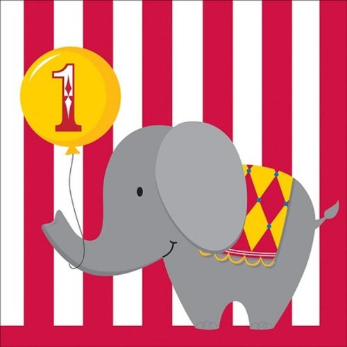 Creative Converting Circus Time 1st Birthday Lunch Napkins, 16 Count