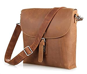 Vintage Leather Brown Casual Briefcase Zippered Pocket Messenger Bag Handcrafted In Italy