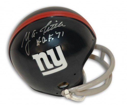 Y.A. Tittle Autographed/Hand Signed New York Giants Throwback Mini Helmet Inscribed HOF 71 at Amazon.com