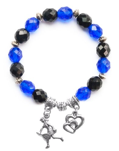 """Tennis Girl"" Girls Tennis Bracelet (Team Colors Royal Blue & Black)-Medium"