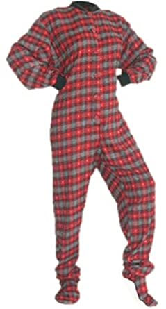 Red/Grey Plaid Flannel w/ Hearts Adult Footed Pajamas No Drop-Seat (XS)