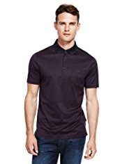 Autograph Pure Cotton Striped Pocket Polo Shirt