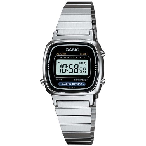 Casio Ladies Digital Watch LA670WA In Silver Black