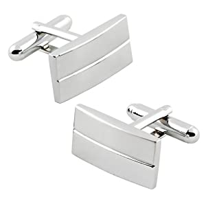eForCity Classic Silver Rectangle Cufflinks