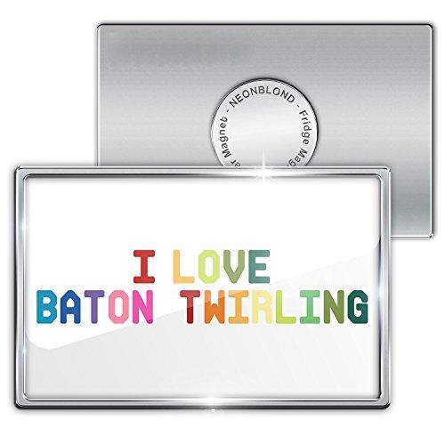 Fridge Magnet I Love Baton twirling, Colorful - Neonblond