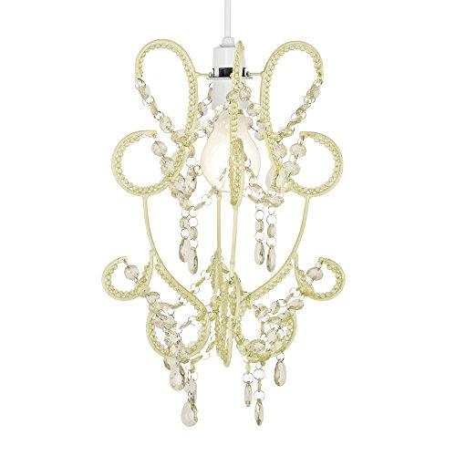 MiniSun - Pendaglio da soffitto, paralume, con gioielli e perle, effetto elegante, chic