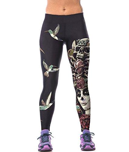 ZIOOER Fitness Yoga Sport Pants Printed Stretch Ankle Legging Female Skull