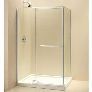DreamLine SHEN-1132460-04 Quatra Frameless Pivot Shower Enclosure, 32 5/16-Inch by 46 5/16-Inch, Brushed Nickel Finish