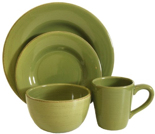 Tag Sonoma Ironstone Ceramic 16-Piece Dinnerware Set, Service for 4, Celadon Green
