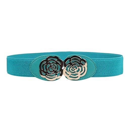 Urparcel Adjustable Elastic Stretch Flower Buckle Wide Waist Belt Light Blue