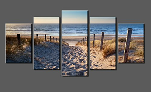 Canvas-Prints-Sk006a-Wall-Art-Beach-Stretched-and-Framed-Ready-to-Hang-5-Panels-Beach-Canvas-Print-Photo-Canvas-Art-for-Home-Decoratio