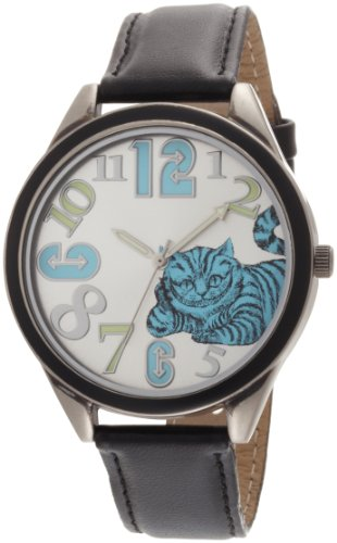 Alice in Wonderland Women's AL1002B Cheshire Cat Silver Dial Black Leather Strap WatchAlice in Wonderland Women's AL1002B Cheshire Cat Silver Dial Black Leather Strap Watch
