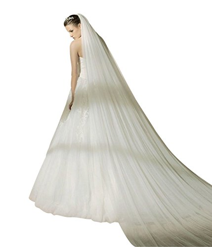 MISSYDRESS 2T Trailing Long Bridal Wedding Veil Cut Edge with Comb-V37 White