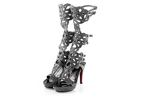 Scarpe donna WHY ALBERTO VENTURINI N35 sandalo grigio con gambale e strass X2640