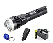 Nitecore P16 LED Tactical Flashlight Rechargeable Package - 960 Lumens, Black, 316 Yards - Including 1x Nitecore 18650 Rechargeable Battery, Charger, Bonus Bright Lumentac Keychain Light