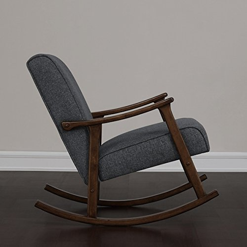 Granite Grey Fabric Retro Wooden Rocker Glider Chair 1