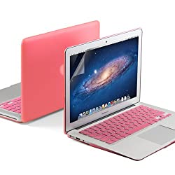 GMYLE(R) 3 in 1 Pink Matte Rubberized (Rubber Coated) Hard Case for 13.3 inches Macbook Air - Pink Silicon Keyboard Protector - Clear LCD Screen Protector - (Not Fit For 2013 Model)