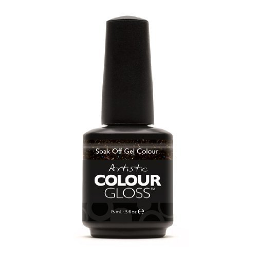 Artistic Nail Design Colour Gloss Black Glitter Gel Polish 03095 Controlling