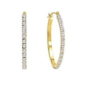 Diamond Fascination 14K Yellow Gold Diamond Accent Oval Hoop Earrings