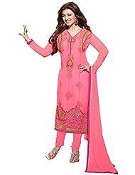Manvaa Bewitching Light Pink Georgette Salwar Kameez With Pink Chiffon Dupatta