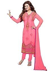 Manvaa Sempiternal Pink Georgette Embroidered Dress Material-KMGT5004