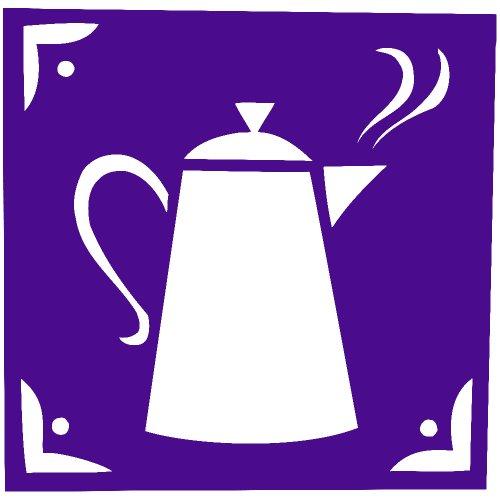 Cofee Tea Pot Kettle Decal Sticker (Purple, 5 Inch, Mirrored)