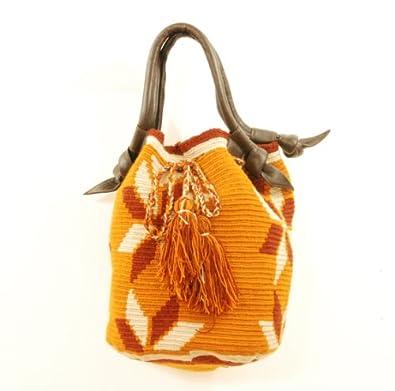 SeaSalt Wayuu Handmade Mochila with Leather Handles WL01: Handbags