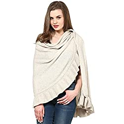 Pluchi Fashion Knitted Lambswool Poncho Daisy-LT BEIGE MARL