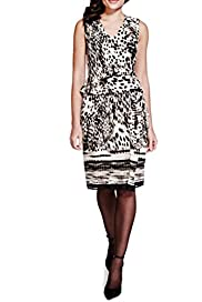 Per Una Animal Print Drape Dress [T62-7004I-S]