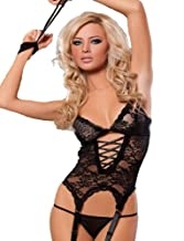 Yummy Bee Lace Teddy Cami Bustier Suspenders + Lace Top Stockings G String Handcuffs Plus Size 8 - 24 Sexy Lingerie Red Black (Black, 12 - 14)