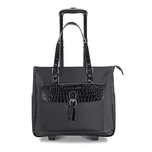 heritage-ladies-nylon-twill-croco-pvc-single-gusset-wheeled-computer-case-black-one-size