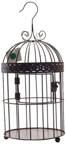 Housewares International Home Decor Black Metal Bird Cage, 15-Inch