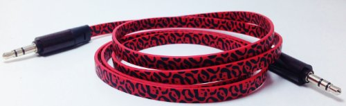 Cablesfrless (Tm) 3Ft 3.5Mm Patterned Tangle Free Auxiliary (Aux) Cable (Leopard Red)