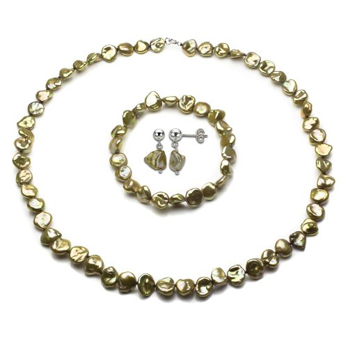 Sterling Silver 8-9mm Champagne Color Keshi-Baroque
