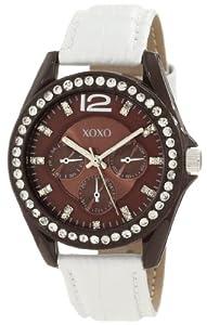 XOXO Women's XO3360 Rhinestones Accent White Strap Watch