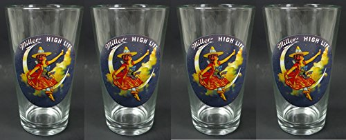 Set of 4 Miller High Life Girl in the Moon Pint Beer Glasses (Miller Beer Glasses compare prices)