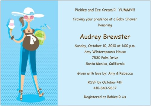Pickles & Ice Cream Baby Shower Invitations - Set of 20