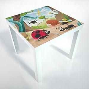 Table Basse + pellicule de protection + 55x55x45 cm + table blanche