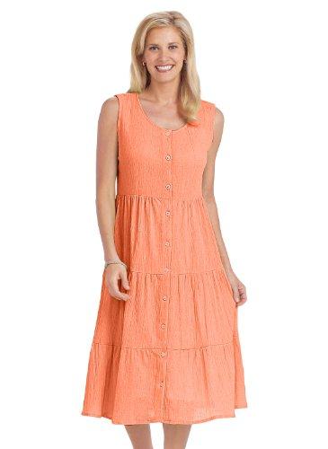 Crinkle Cotton Button-Front Dress - Women'S Sizes, Color Peach, Size 5X